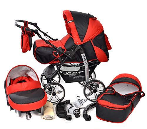 Baby Sportive - Passeggino 3-in-1 da viaggio con seggiolino auto e accessori, colore: Rosso/Nero