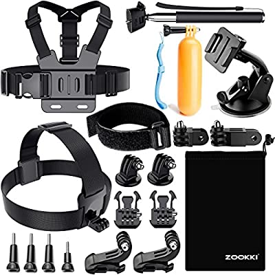Zookki Accessories Kit for Gopro Hero 7 6 5 4 3, Action Camera Accessories for Xiaomi Yi 4K/WiMiUS/Lightdow/DBPOWER, Black Silver by ZOOKKI