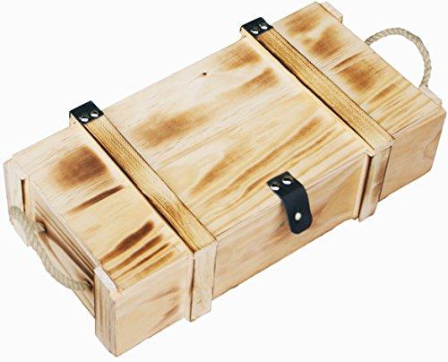 Kistenkolli Altes Land Weinkiste 2er geflammt inkl. Holzwolle/Holzkiste/Geschenkbox/Aufbewahrungsbox/Überraschungskiste/Weinbox/Hochzeitskiste (2er Weinbox)