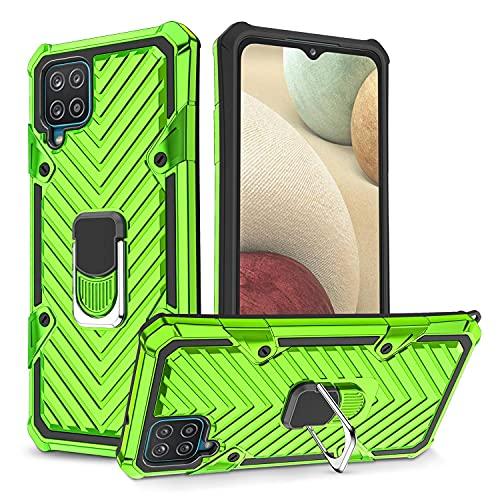 LUSHENG Compatible con Funda Galaxy A12, Funda Resistente Prueba Golpes Doble Capa para Samsung Galaxy A12 6,5 Pulgada, Soporte Integrado - Verde