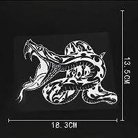 カーステッカー 18.3cmx13.5cmヘビ爬虫類動物毒トライヤールビニール車ステッカーブラック/シルバー カーステッカー (Color Name : Silver)