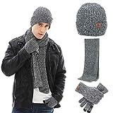 Neusky Winter Knit Beanie Beanie Sombrero bufanda y guante Set