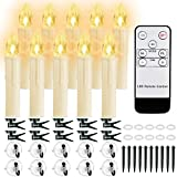 10 PCS LED Window Candles with Remote Timer, Battery Operated Flameless Taper Candles, Warm White Flickering Christmas Candles Lights for Home, Holiday, Party, Christmas Tree Decorations(0.7'D x 4'H)