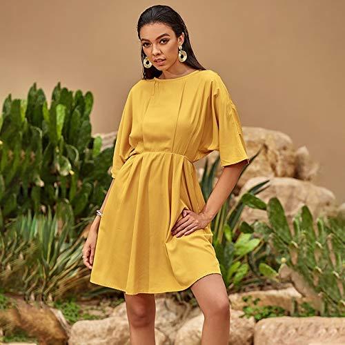 Sommer Frauen Kleid lässig Elastische Taille A-Linie O-Ausschnitt Drapierte Kleider Damen Herbst Halbarm lose hohe Taille gelbes Kleid XL Gelb