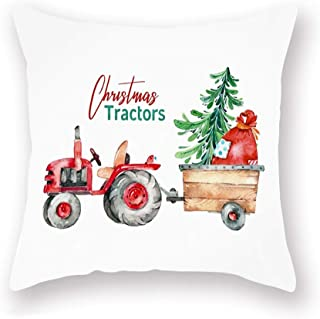 Christmas Tractor Theme Decor Throw Pillow Cases Watercolor Red Truck with Santa's Magic Bag ChristmasTrees Design Super ...