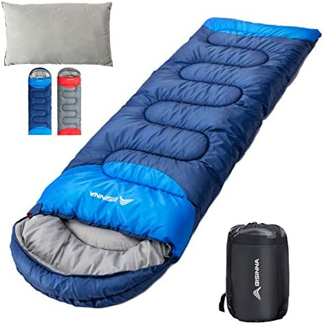 BISINNA Sleeping Bag with Pillow 4 Season Backpacking Sleeping Bag Lightweight Waterproof Warm product image