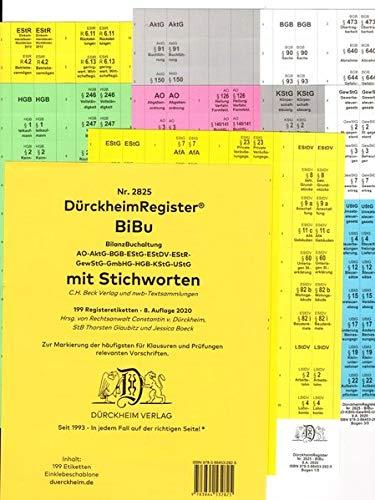 DürckheimRegister® BiBu-BILANZSTEUERRECHT Register für deine AO-AktG-BGB-EStG-EStR-KStG-UStG-GmbHG-HGB-UmwG mit Stichworten (2020): 199 ... In jedem ... In jedem Fall auf der richtigen Seites der a
