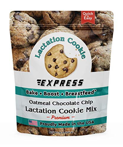 Lactation Cookie Express Premium Oatmeal Chocolate Chip Lactation Cookies Mix for Breastfeeding Mothers to Increase Breast Milk Supply with Brewers Yeast, Oats, Flaxseed, 2 dozen