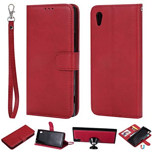 nancencen Kompatibel mit Sony Xperia XA1 / Z6 Handyhülle, Magnetische TPU 2 in 1 Wallet (Karten Slot) Schutzhülle PU Leder Flip Cover Lederhülle Hülle - Rot