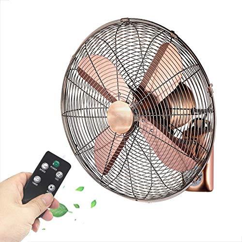 Ventiladores de montaje en pared de ventilador oscilante de montaje de pared, ventilador de pared de refrigeración retro de metal, control remoto Ventilador oscilante de 90 grados, ventilador eléctric