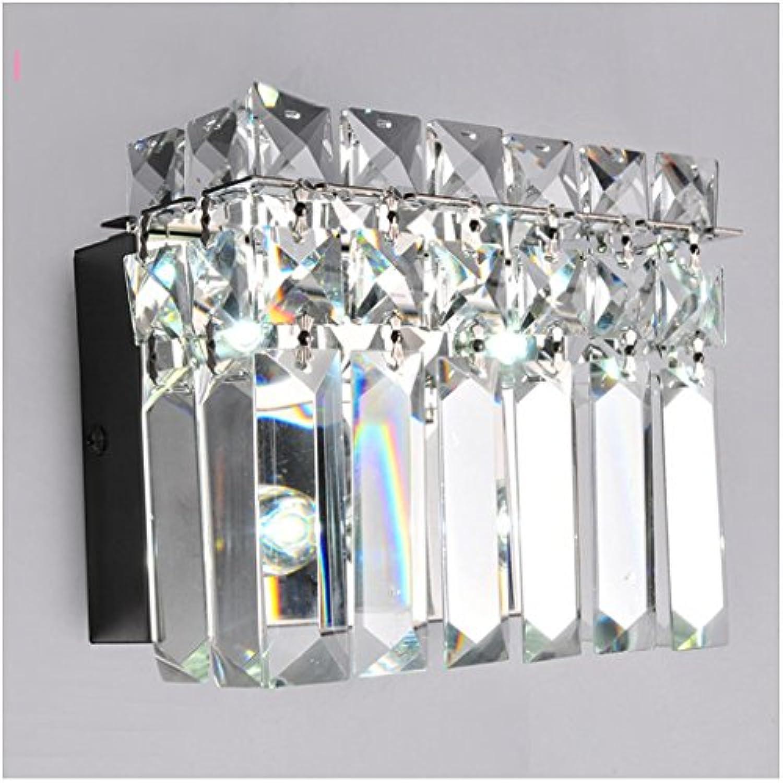 JIE KE Einfache moderne edelstahl kristall led wandleuchte restaurant gang schlafzimmer bett lange streifen lampe kreative wasserdicht Kreative Wandleuchte (gre   A 18  13.5  9cm)