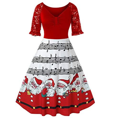 Wenese Weihnachten 2020 Damen Weihnachtskleid Frauen Langarm V-Ausschnitt Weihnachten Musical Notes Print Vintage Flare Kleid Party Kleid