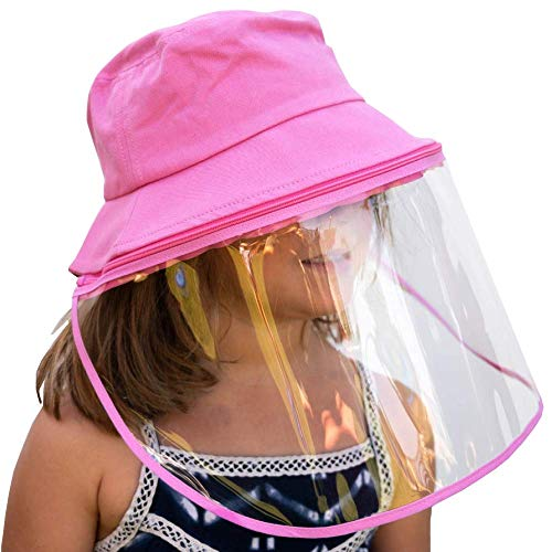 Little Bumper Cotton Bucket Hat with Detachable Face Shield, Comfortable Wide Brim Boonie Cap and Clear Plastic Screen, Dust and Outdoor Protection, Kids and Adults Sizes (S/M, Pink)