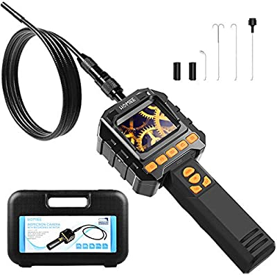 Upgraded Inspection Camera with Lights, HOMIEE Telescoping Camera Automotive Borescope with Video Record, 3.2 Ft IP67 Waterproof Semi-Rigid Snake for Drain Pipline Air Vent and Car Detection