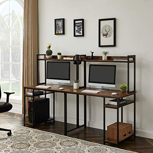Merax Double Workstation, Two Person Computer Storage, Spacious Tabletop, Multifunction Writing Shelf Desk, 94.48  L x 23.62  W x 53.46  H, Brown