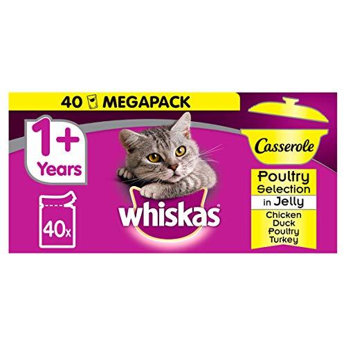 Whiskas 1+ Casserole, bustine di cibo per gatto a base di carne in gelatina (40 pezzi)