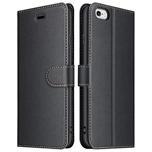 ELESNOW Hülle für iPhone 6 / 6s, Premium Leder Flip Wallet Schutzhülle Tasche Handyhülle für Apple iPhone 6 / 6s (Schwarz)