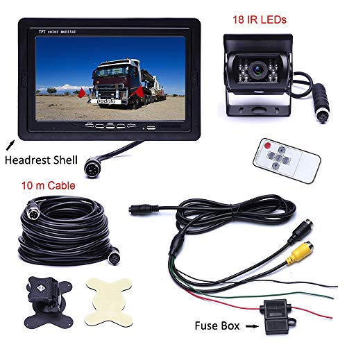 Achteruitrijcamera vrachtwagen achteruitrijcamera 18 LED IR waterdicht 170° HD achteruitrijcamera met 7 inch desktop monitor voor bussen
