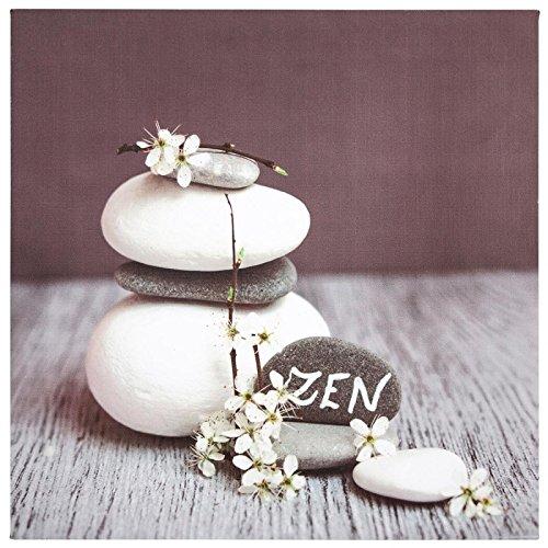 Paris Prix Atmosphera Créateur d'intérieur - Toile Imprimée Zen Stones Flowers 28X28cm Gris Foncé