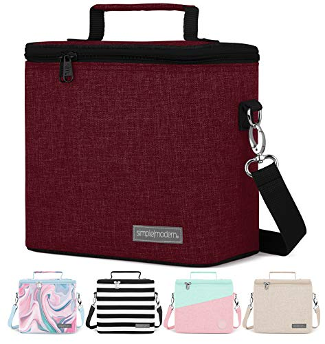 Simple Modern 4L Blakely Lunch Bag for Women & Men - Red Insulated Kids Lunch Box -Cabernet
