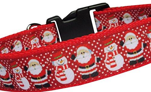 BGDesign Hundehalsband Weihnachten Schneemann Weihnachtsmann Winter Geschenk Nylon Halsband Hund rot Klickverschluss L verstellbar 40-59 cm x 3 cm breit