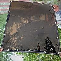 黒透明防水シート、屋外家具用の耐引裂性防水・防塵・防雨 ・日焼け止め日覆ターポリン、厚さは0.35mmビニールカーテン、ベランダ植物保護カバー 、間仕切雨除けカーテン 目隠し 、グロメット付き (0.8x1m/2.6x3.3ft)