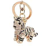 ZRDY 3D Kristalltier Sibirischen Tiger Keychain Frauen-Zubehör Design Tiger Anhänger Schlüsselanhänger (Color : Metallic)