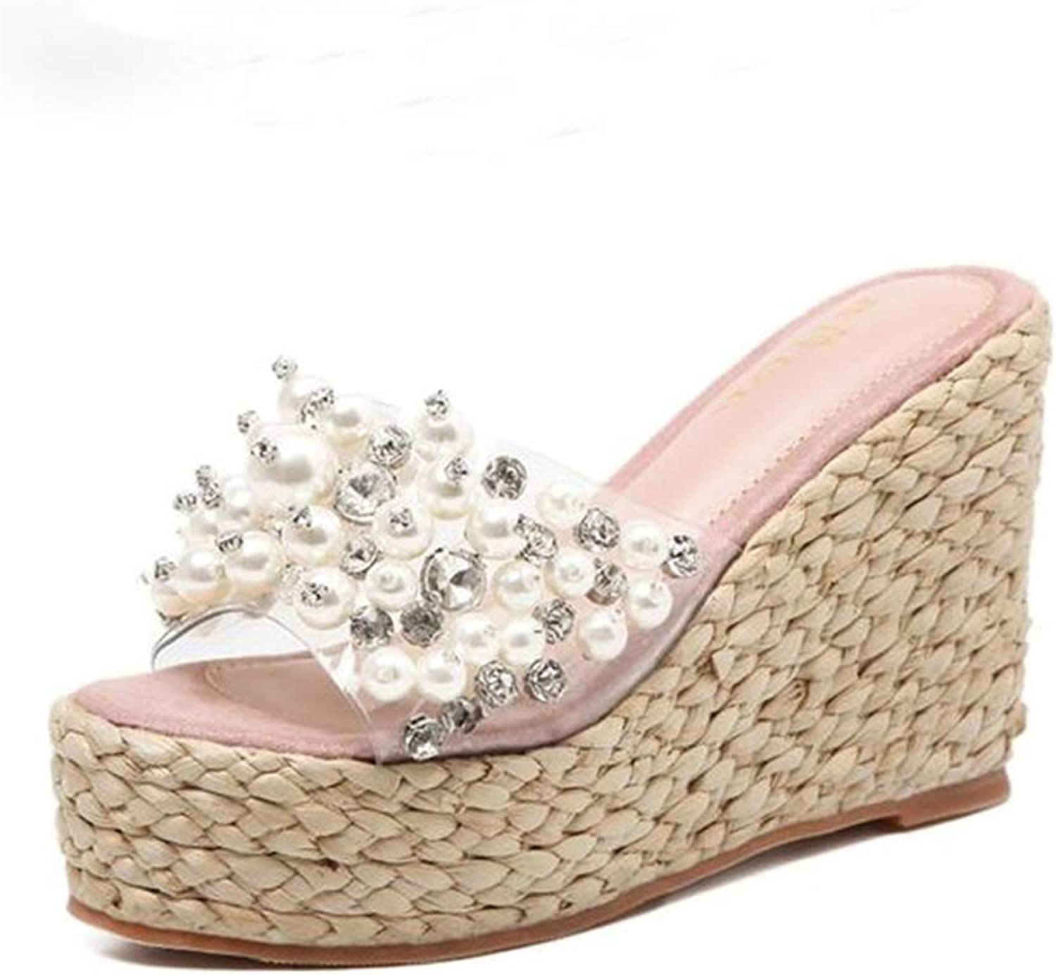 T-JULY Women's Flowers Sandals for Beach Patchwork Transparent Pearl Crystal Solid Wedges Platform Outside Braided Heels Slippers