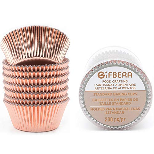 Gifbera Rose Gold Foil Cupcake Liners Standard Baking Cups Muffin Wrappers for Wedding Birthday, 200-Count