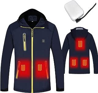 J-Jinpei Heated Jacket for men and women - Body Warmer 5V USB Heated Jacket with Battery Pack 8000mAh Waterproof Softshell Fleece Hoodie Jacket Unisex Blue Size:L