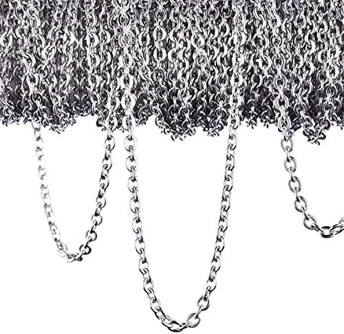 'N/A' 12 metros de collar de cadena de acero inoxidable para accesorios de bisutería DIY 2,4 mm