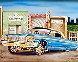 Wall Decor Vintage Blue & Gold Lowrider Classic Automobile Car Art Print Picture (8x10)