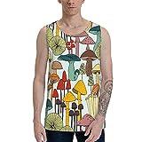 Donono Camiseta sin mangas para hombre, diseño de champiñones variados y coloridos, suave para playa, sin mangas, chaleco, Negro, XL