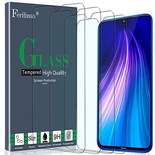 Ferilinso Tempered Glass for Xiaomi Mi 9 Lite, Redmi Note 8, Redmi Note 7, Redmi 7, Redmi S3 Glass Film, [4 Pack] Protective Film Protection Tempered Glass Screen Screen Protector Film
