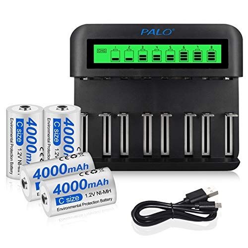 CITYORK Juego de cargador de batería - 8 ranuras cargador de batería independiente para AA/AAA/C/D Ni-MH/Ni-Cd baterías recargables con Ni-MH C 4000mAh baterías recargables (4 unidades)