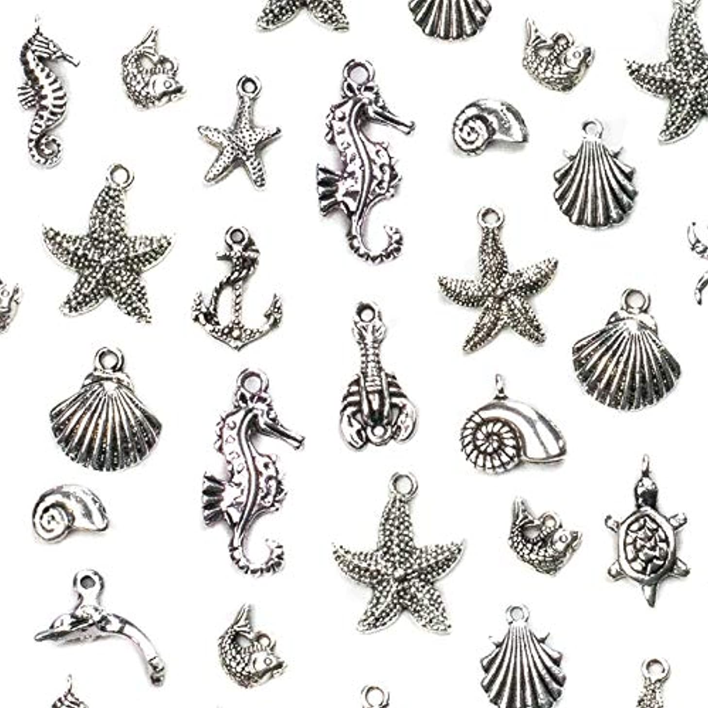 Cherry Blossom Beads An Assorted Mix of 100 Silver Pewter Ocean and Sea Life Themed Charms