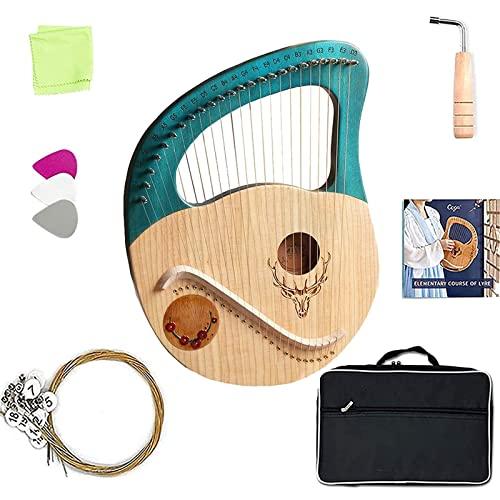 Arpa da giro fatta a mano, arpa a lira con 24 corde di metallo, strumento musicale in mogano con chiave inglese, borsa, libro di spartiti, miglior regalo violino greco per principia