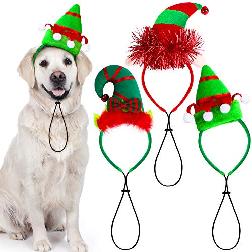 Aneco 3 Pack Christmas Puppy Dog Elf Headband Christmas Pet Elf Costume Hair Hoop Pet Hat for Dog Puppy Cat