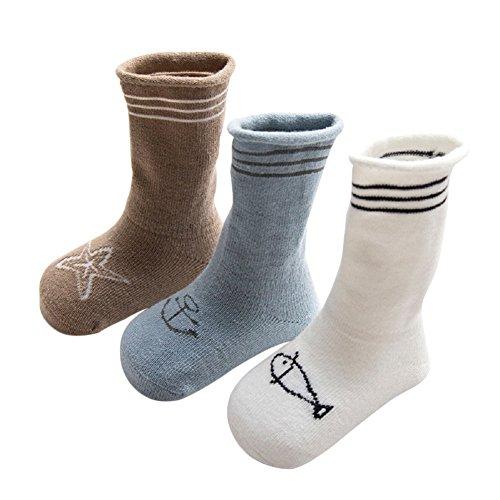 DEBAIJIA Baby Tube Socken Frühling/Sommer Neugeborene Baumwolle Söckchen Set 3er Pack Logo Gestreift - M(1-3 Jahre)