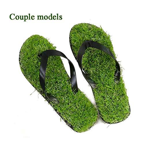 Chnzyr Outdoor-Strand-Schuhe Einfache Art Und Weise Männer/Frauen-Rasen-Flip-Flops Massage Gras Hausschuhe Paar Modelle Lustige Rasen Flip-Flops,Schwarz,44/45