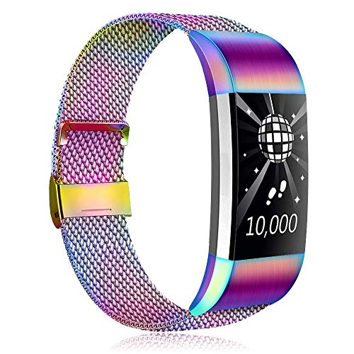 Amzpas Kompatible Für Fitbit Charge 2 Armband, Metall Magnetverschluss Edelstahl Ersatzarmband für Fitbit Charge 2 (06 Bunt, S)