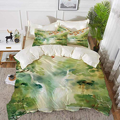 Waterfall,Watercolor Illustration of Asian Falls and Mountain in Paradise Exotic Print,Hypoallergenic Microfibre Duvet Cover Set 200 x 200cm with 2 Pillowcase 50 X 80cm