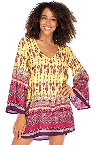 Back From Bali Womens Boho Print Beach Dress V Neck Loose Tunic Top Swimsuit Cover Up Casual Bohemian Sundress Saffron Large