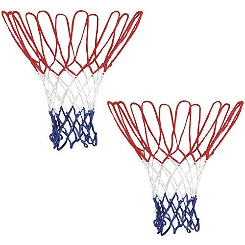MHOYI Rete da Basket, Robusta Rete da Basket Professionale Robusta e Durevole, Adatta per canestro da Basket o per Canottaggio Standard 12 per Interno o Esterno 2 Pezzi - Bianco/Rosso/Blu 2 Pezzi