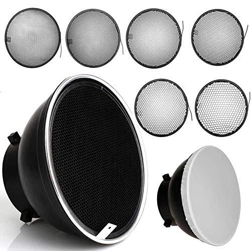 Difusor reflector estándar de 18 cm con rejilla de panal de abeja de 10/20/30/40/50/60 grados para Bowens Mount Studio luz estroboscópica flash