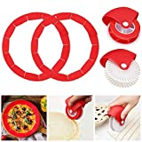 4PCS Adjustable Pie Crust Shield Pastry Wheel Decorator and Cutter Silicone Pie Protectors Cover...