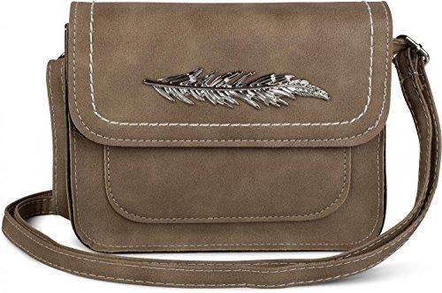 styleBREAKER kleine Umhängetasche mit Feder Applikation am Überschlag, Schultertasche, Tasche, Damen 02012151, Farbe:Braun