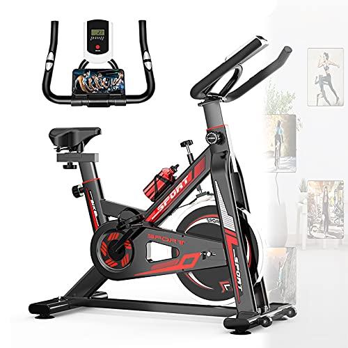 WOERD Bicicleta EstáTica De Spinning Profesional con Sensor De Pulso, Spinning Bike Ajustable Resistencia, LCD Pantalla, Bicicleta Fitness De Gimnasio Ejercicio con Volante De Inercia