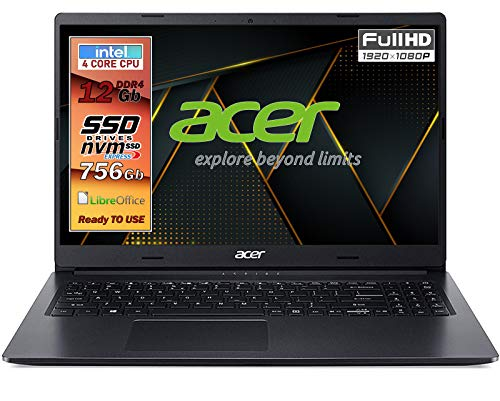 Notebook SSD, portatile pc, Acer Intel N4120, 4 core, Ram 12GB, SSD 756GB, display 15.6' FullHD led, 3 USB, wi-fi, hdmi, BT, lan, Win 10 Pro, Libre Office, Pronto all'Uso, Gar. e layout Italia