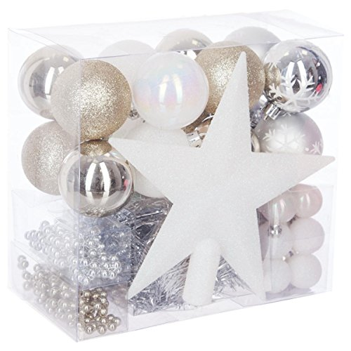 FEERIC LIGHTS & CHRISTMAS Lot déco Noël - Kit 44 pièces pour décoration Sapin : Guirlandes, Boules et Cimier - Thème Couleur : Blanc, Champagne & Argent.
